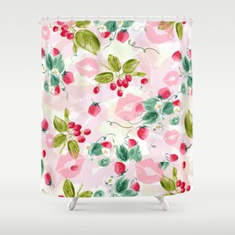 strawberries w kisses Shower Curtain