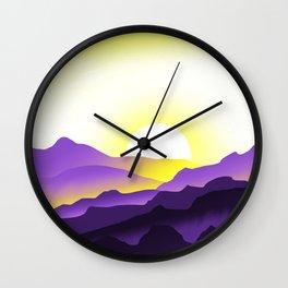 Nonbinary Pride Sunrise Landscape Wall Clock