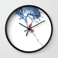 calm Wall Clocks featuring There's no way back by Robert Farkas