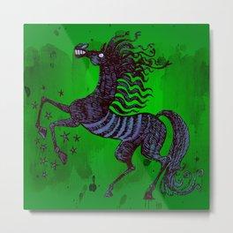Dark Blue horse Metal Print