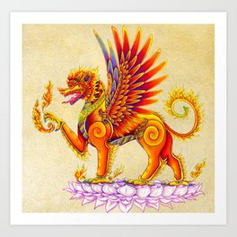 Singha Winged Lion Temple Guardian Art Print