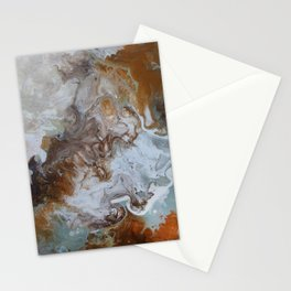 Sage and Umber Paint Pour Print Stationery Cards