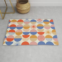 Vintage abstract colorful geometry circles hand drawn illustration pattern. Cute colored blocks shapes on white background. Rug