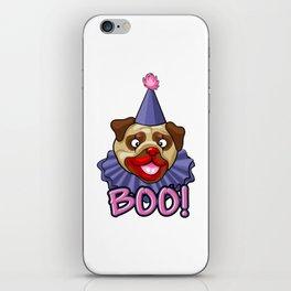 Clown Pug Halloween Joker Makeup Cute Brown Pug Light iPhone Skin