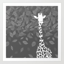 Funny Giraffe with Leaves Art Print