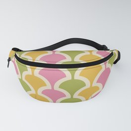 Classic Fan or Scallop Pattern 426 Pink Green and Yellow Fanny Pack