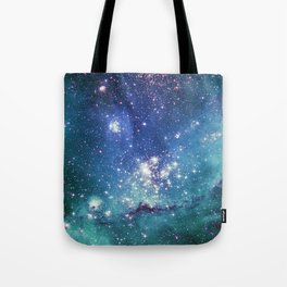 Turquoise Star Galaxy Tote Bag