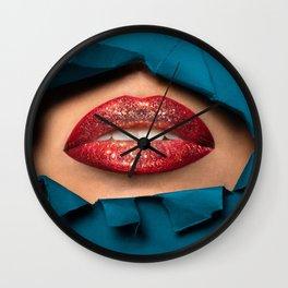 Red Glitter Lips Wall Clock