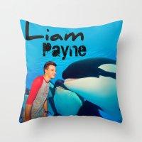 liam payne Throw Pillows featuring Liam Payne by Marianna