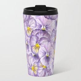 Watercolor floral pattern with violet pansies Travel Mug