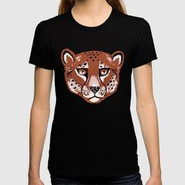 Summer Cheetah Portrait Pattern - Rust Brown T-shirt