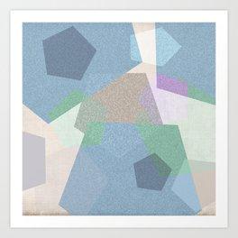 Sekskanter + light blue Art Print