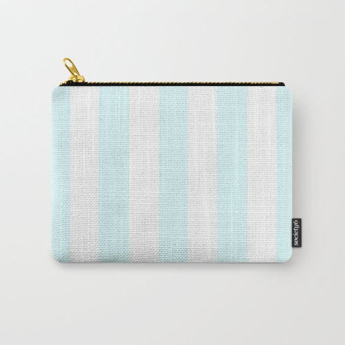 Light cyan heavenly - solid color - white vertical lines pattern Carry-All Pouch