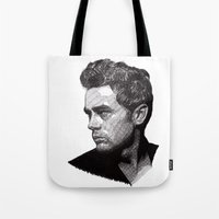 james franco Tote Bags featuring James by Rik Reimert