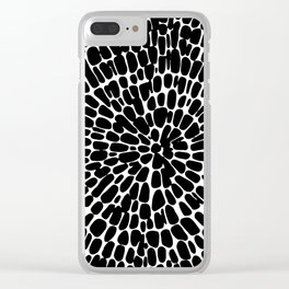 Black round print Clear iPhone Case