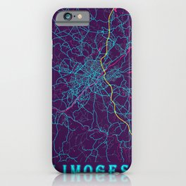 Limoges Neon City Map, Limoges Minimalist City Map Art Print iPhone Case
