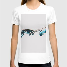 Creation of Man 2.0 Classic Michelangelo Robot Hand Art Print T-shirt