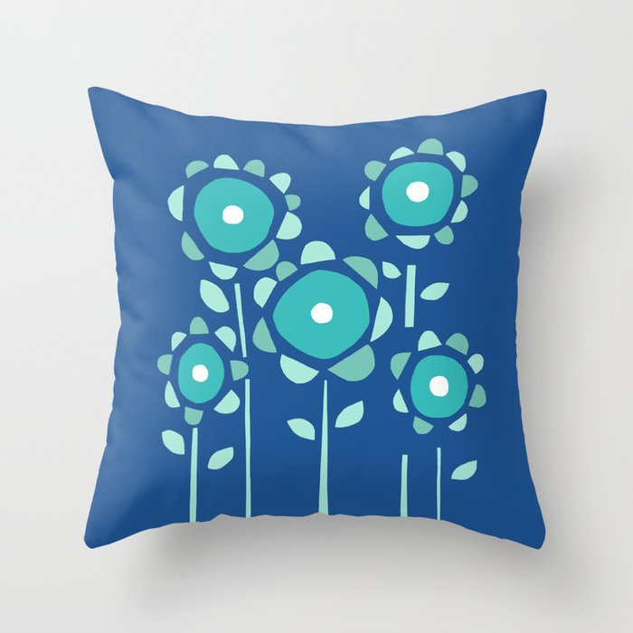 Moody Blue Garden of Flowers Throw Pillow