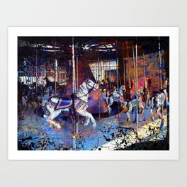 Haunted Halloween Carousel Ride Art Print