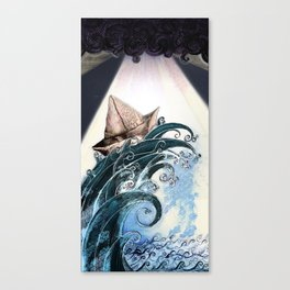 Origami Boat on a Wave Canvas Print