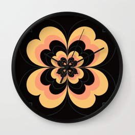Vintage Flower Design in Sherbet Pink and Buttery Yellow On Black Wall Clock