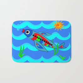 Whimsical Colorful Fish Airplane Bath Mat