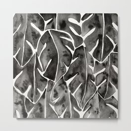 Split Leaf Philodendron - Black Metal Print