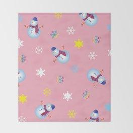 Snowflakes & Snowman_B Throw Blanket