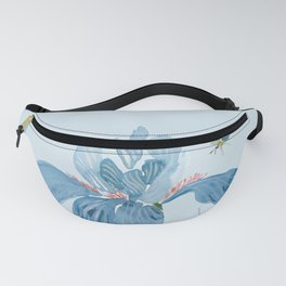 Blue Iris and Bee Fanny Pack