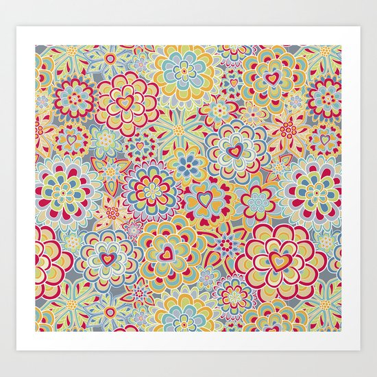 My happy flowers in red. Art Print