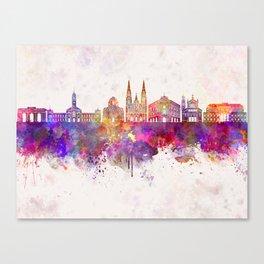La Plata skyline in watercolor background Canvas Print