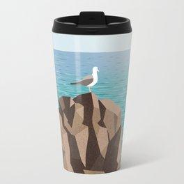 Seagull on rock Travel Mug