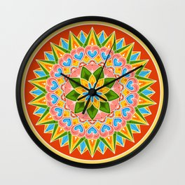 Costa Rica Folk Pattern – Decorated painting wheel of coffee ox cart Wall Clock