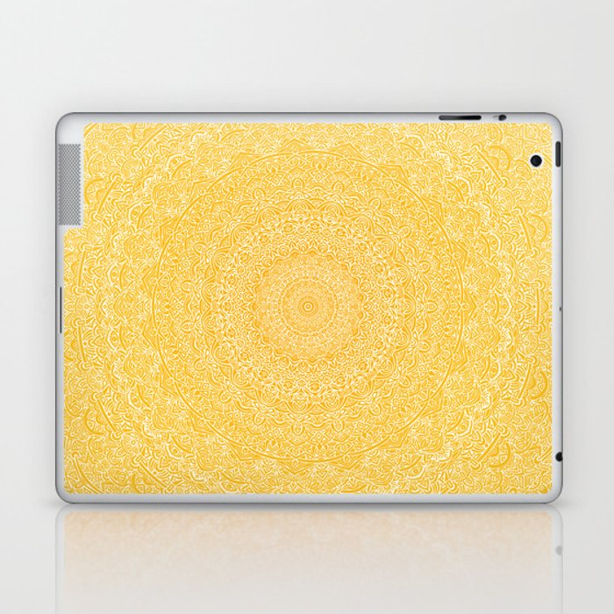 The Most Detailed Intricate Mandala (Mustard Yellow) Maze Zentangle Hand Drawn Popular Trending Laptop & iPad Skin