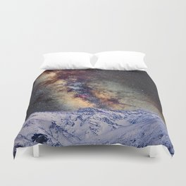 The star Antares, Scorpius and Sagitariuss over the hight mountains. The milky way. Duvet Cover