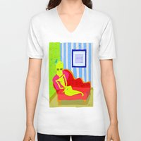 "matisse V-neck T-shirts featuring ""Stealing Matisse"" (Picasso Watching) by correia creative"