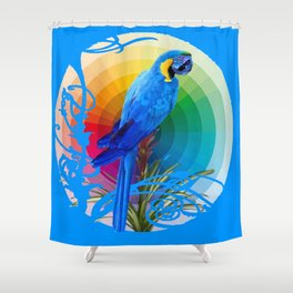 DECORATIVE CERULEAN BLUE MACAW  COLORFUL ART Shower Curtain