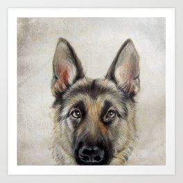 German Shepard Version2 Warm Color Hand Painting By Miart Print Art
