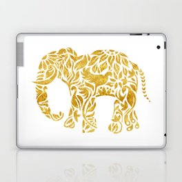 Floral Elephant in Gold Laptop & iPad Skin