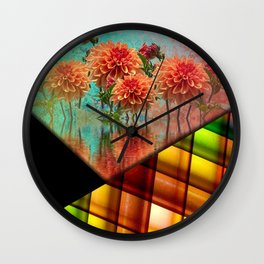 Colorful Flowers & Shapes Collage Wall Clock