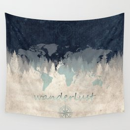 world map wanderlust forest 2 Wall Tapestry