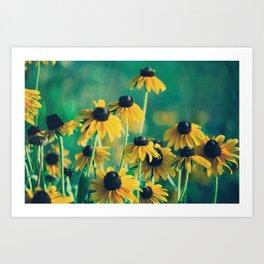 Emerald and Topaz Summer Botanical -- Prairie Coneflower / Mexican Hat Flower Art Print