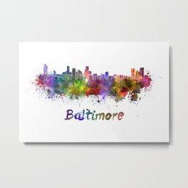 Baltimore skyline in watercolor Metal Print
