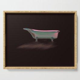 Art Deco Retro Style Claw Foot Bathtub// Wall Paper Serving Tray