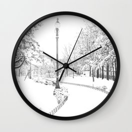 Winter snow city Wall Clock