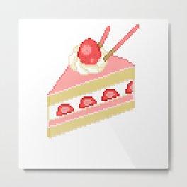 Pixel Strawberry Cake Metal Print