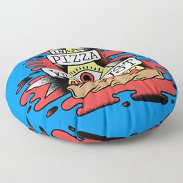 In Pizza We Crust - The Food Illuminati (Blue Backdrop) Floor Pillow