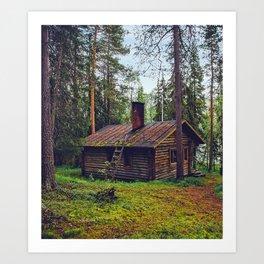 Mossy Cabin Getaway Art Print