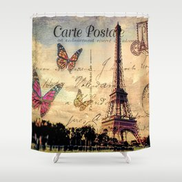 Vintage Paris-Carte Postale Shower Curtain