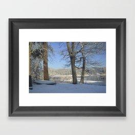December Snow Delaware River View Framed Art Print